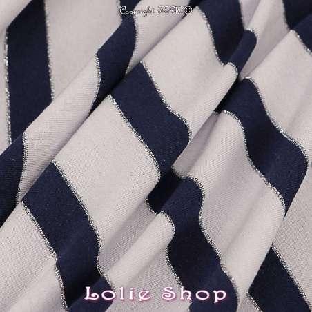 Jersey Viscose Rayures Bleues Blanc Lurex