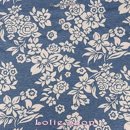 tissus-Jersey Viscose  Fond Bleu