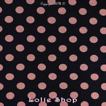 Jersey Polyester et Viscose Imprimé Pois Rose sur fond Marine