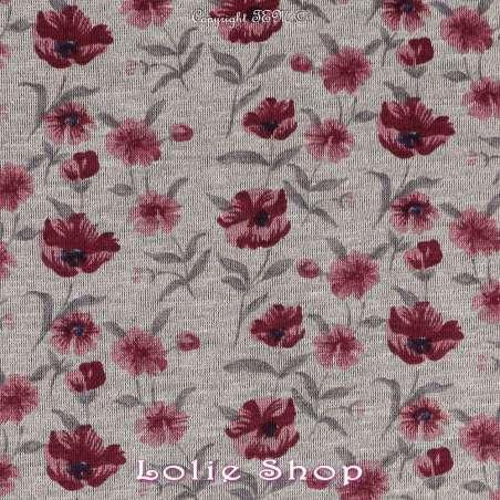 Jersey Polyester et Viscose Imprimé Fleurs sur fond Gris