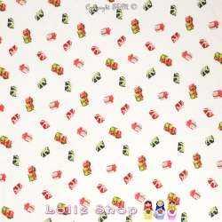 Tissus Viscose Imprimé Paquets Cadeaux fond Blanc