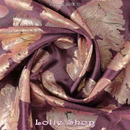 Brocart ALBASTOF  - tissus Modèle ALLISA Ton Pourpre - Photo Rosace
