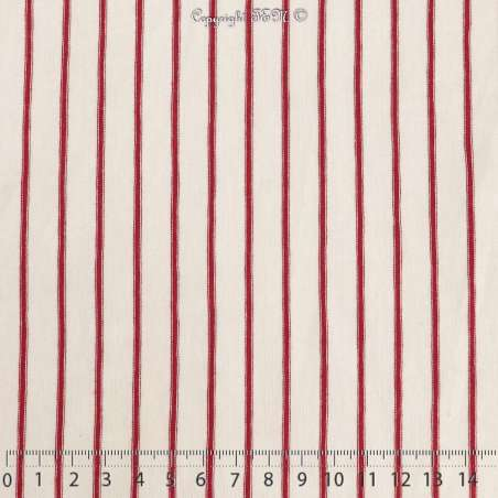 Jersey Viscose Imprimé Motif Marinière Rayures Rouge Fond Blanc Cassé