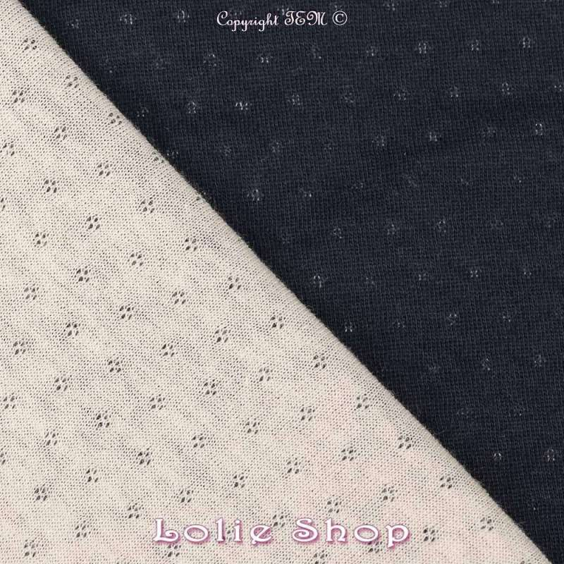 Magnifique Jersey 100% Coton Double Faces, Bleu Marine Et de l'autre Gris Clair face B