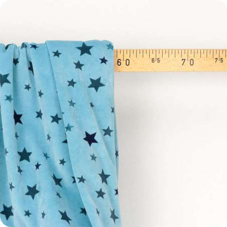 Velours Bébé Ultra Doux Imprimé Étoile Fond Bleu