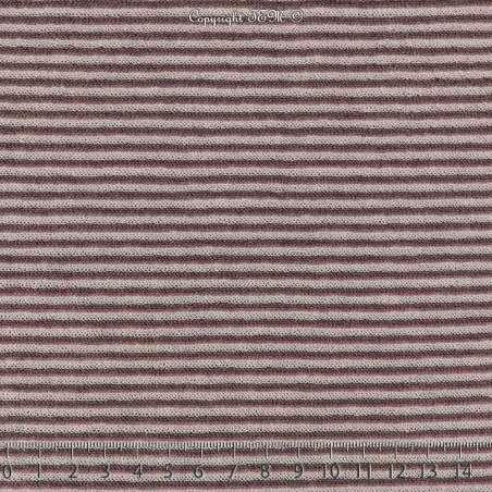 Jersey Coton Bouclette Tubulaire Rayures Mauve
