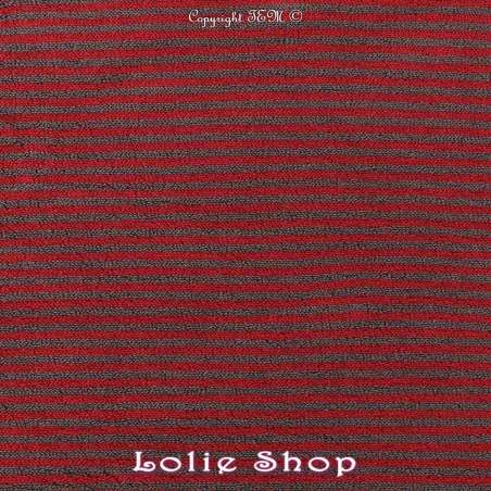 Jersey Coton Bouclette Tubulaire Rayures Ton Rouge