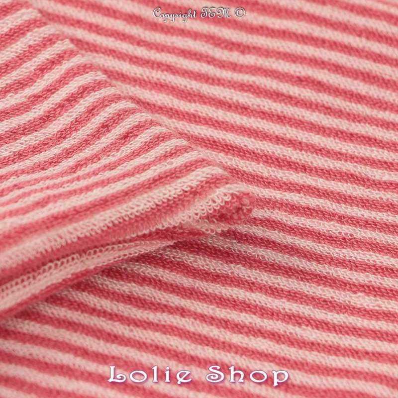 Jersey Coton Bouclette Tubulaire Rayures Ton Cerise