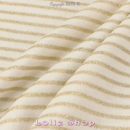 Jersey Coton Tubulaire Rayures Lurex Or
