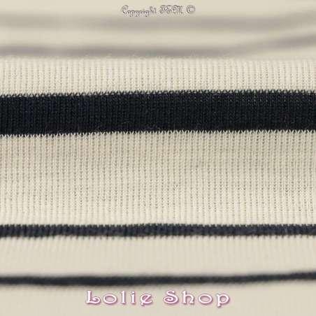 Jersey Coton Tubulaire Rayures Marine Pas Chère