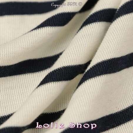 Magnifique Jersey Coton Tubulaire Rayures Marine