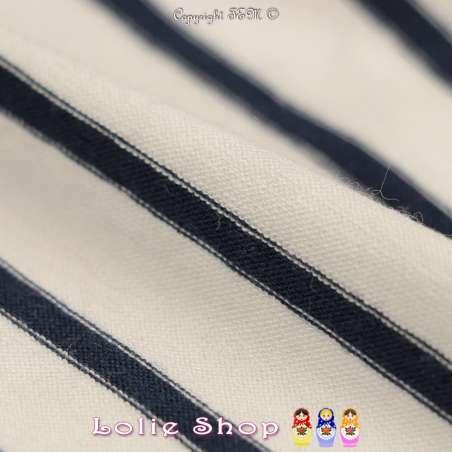 Jersey Viscose Imprimé Motif Marinière Rayures Marine Fond Blanc Cassé