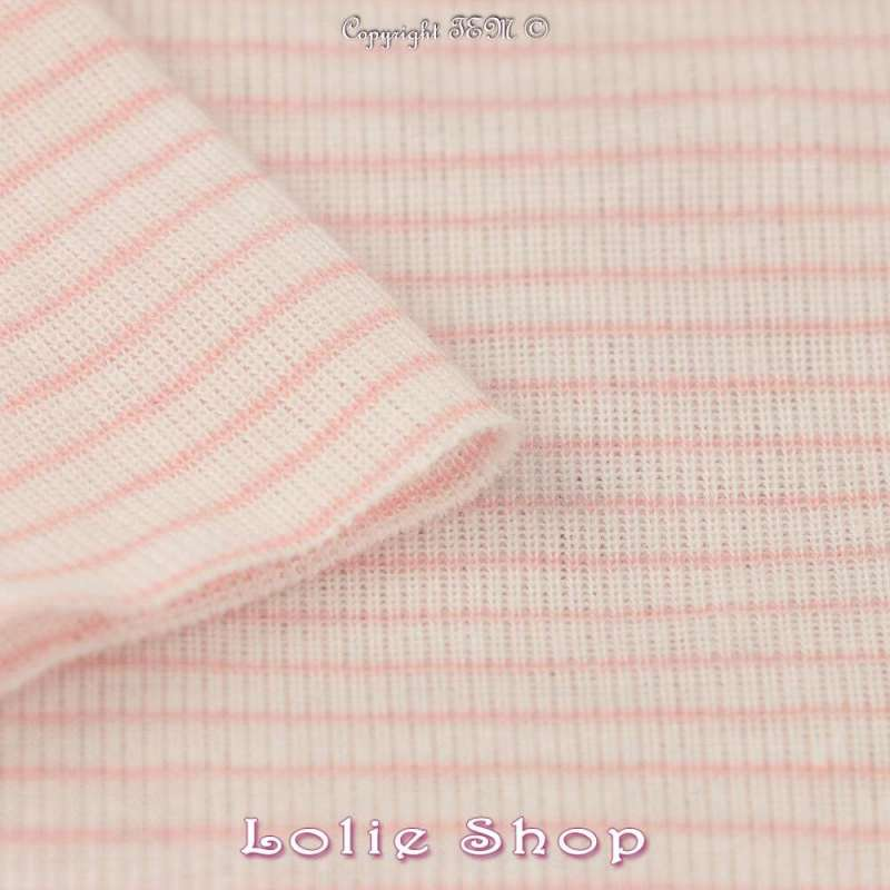 Jersey Coton Tubulaire Fines Rayures Rose