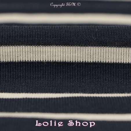 Jersey Coton Tubulaire Rayures Marine & Écru