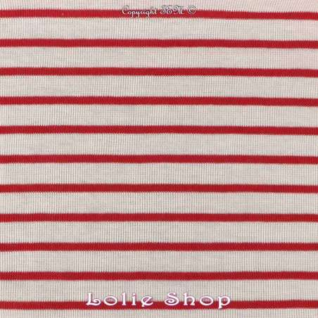 Jersey Coton Tubulaire Fines Rayures Rouge