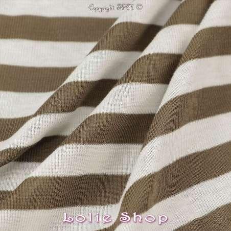 Jersey Coton Tubulaire Grosse Rayures Kaki