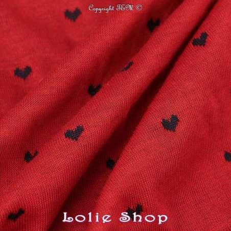 tissus-Jersey Coton Double Face Piqué Tissage Tubulaire Motif Cœur