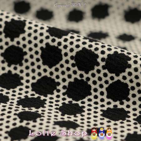 Jersey Crêpé Imprimé Motif Pois Noirs Superposés Fond Blanc