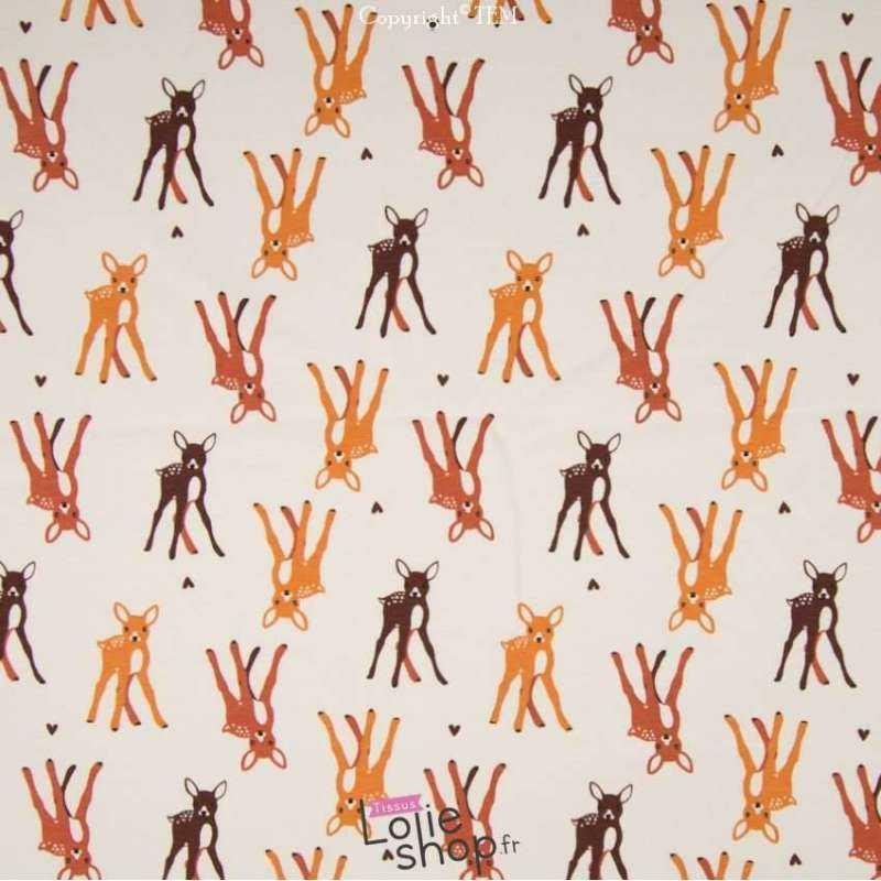 tissu-Jersey Coton Motif Bambi