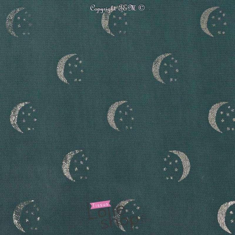 Double Crêpe Georgette Métallisé Lune et Étoiles Dorés