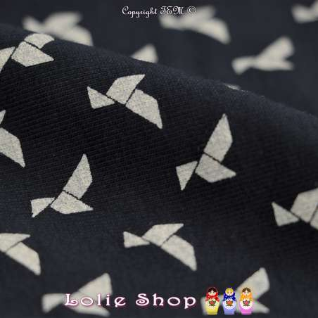 Jersey Coton Imprimé Motif Cocotes Origamis Blanches Fond Marine