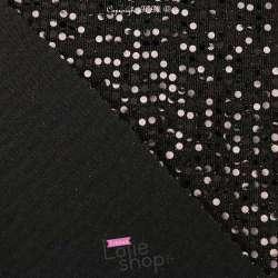 Tissu Maille Viscose  Pois Noir