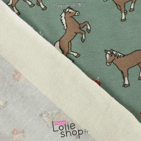 Jersey Coton Imprimé Motif Petits Chevaux Fond Vert Clair