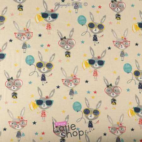 Jersey Coton Imprimé Modèle LUCE Multicolore Fond Beige