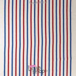 Panneau Jersey Coton Maille Bloquée Rayures Placé