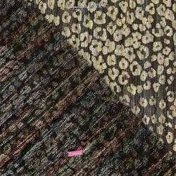 Tissu Maille Plissée Irisée Multicolores Métallisé Léopard Or