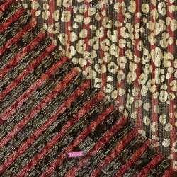Tissu Maille Plissée Irisée Rouge Métallisé Léopard Or