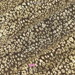 Tissu Maille Plissée Irisée Or Métallisé