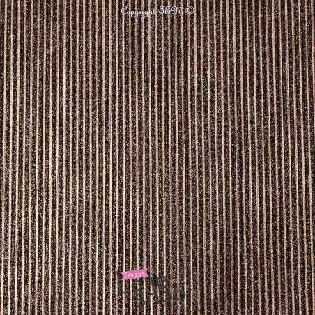 Tissus Jersey haute couture luxe Rayures pailleté Dorure CUIVRE