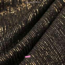 Tissu maille Jersey Texturé Modèle ATHENA Noir Rayures Dorure Or