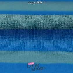 tissu-Jersey Coton Grosses Rayures Bleu Vert