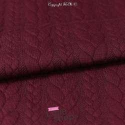 Tissu Jersey Matelassé à Motif Torsade Bordeaux