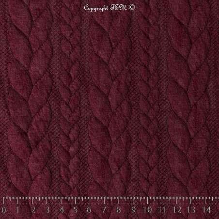 Tissu Jersey Matelassé à Motif Torsade Bordeaux - Photo 15x15