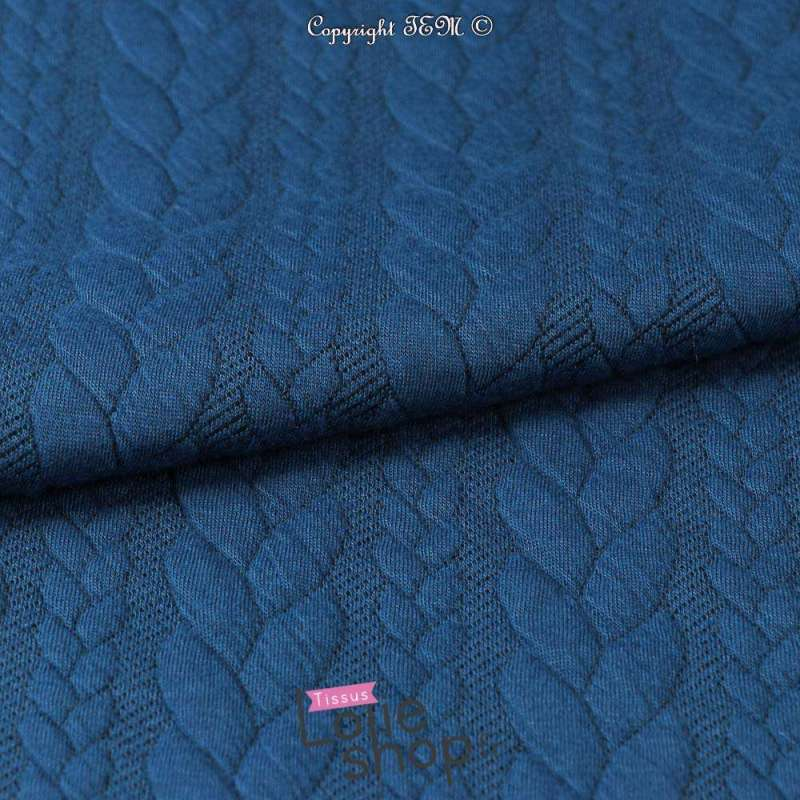 Tissu Jersey Matelassé à Motif Torsade Bleu Cobalt