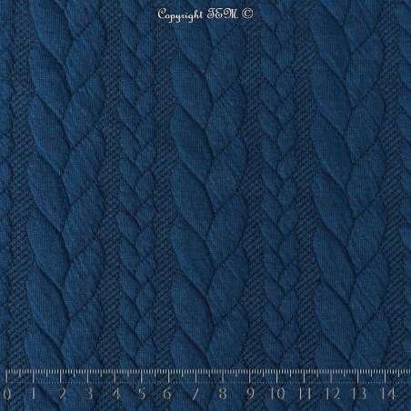 Tissu Jersey Matelassé à Motif Torsade Bleu Cobalt - Photo 15x15