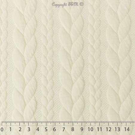 Tissu Jersey Matelassé à Motif Torsade Écru - Photo 15x15