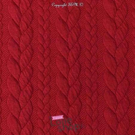 Tissu Jersey Matelassé à Motif Torsade Rouge