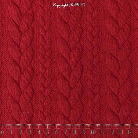 Tissu Jersey Matelassé à Motif Torsade Rouge - Photo 15x15