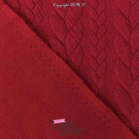 Tissu Jersey Matelassé à Motif Torsade Rouge - Envers
