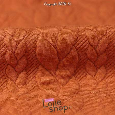 Tissu Jersey Matelassé à Motif Torsade Orangé