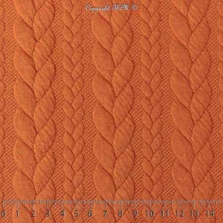 Tissu Jersey Matelassé à Motif Torsade Orangé - Photo 15x15