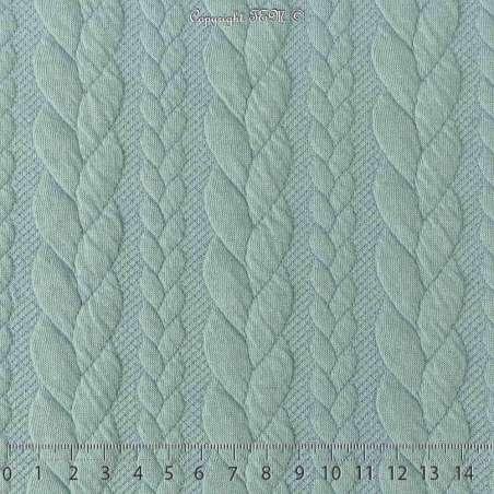 Tissu Jersey Matelassé à Motif Torsade Bleu Givré - Photo 15x15