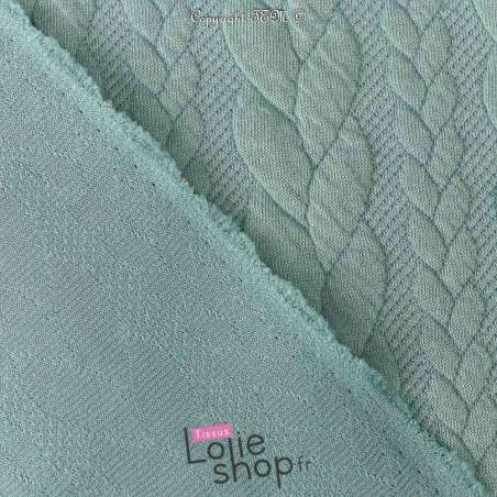 Tissu Jersey Matelassé à Motif Torsade Bleu Givré - Envers