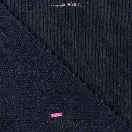 Tissu Molleton pas cher couleur Marine Lurex Argent