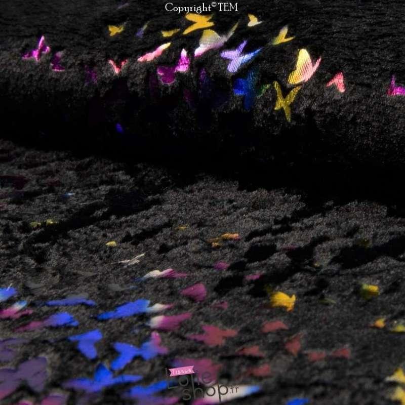 Fourrure Noir Floqué Papillon Multicolore