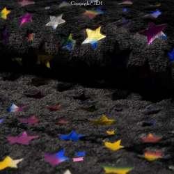 Fourrure Noir Floqué Étoiles Multicolores